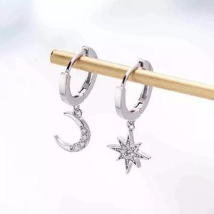 ✨SILVER ✨Star and a moon gold earrings